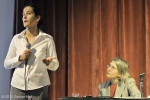 Margaret Krom moderator listening to Dr. Samina Raja SUNY - Buffalo