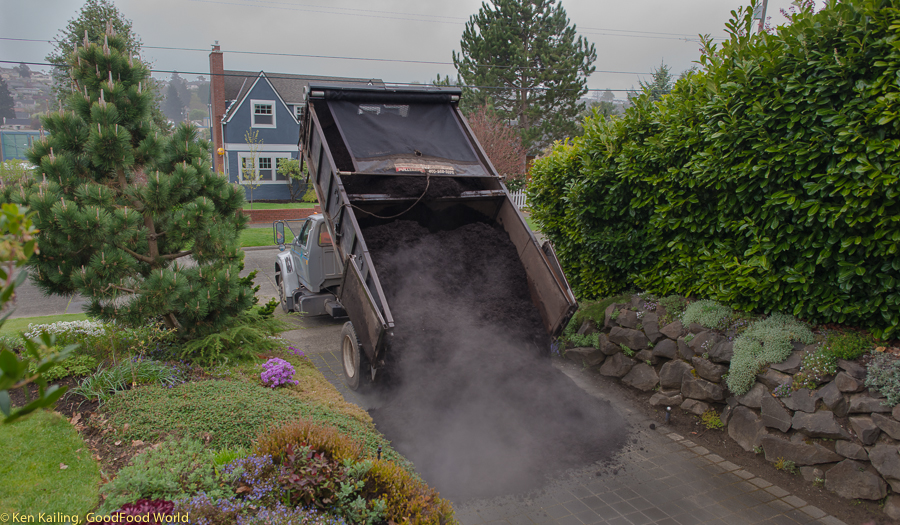 We get our Cedar Grove compost delivery on a gloomy and damp spring day.