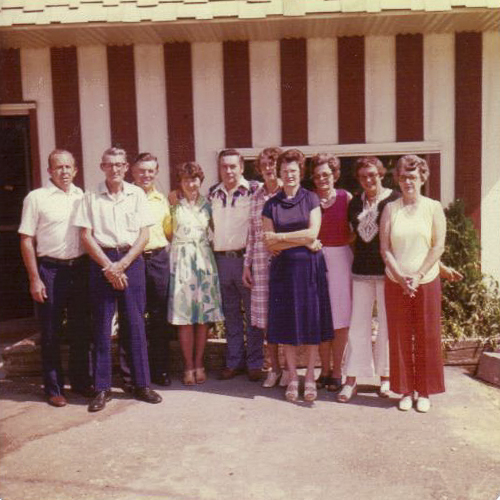 Lea (fourth from the left) at her 50th High School Reunion, 1995