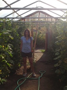 Kate McLean discovers giant tomato plants in the green house.